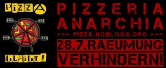 Pizzeria Anarchia 28.7. Räumung verhindern - Web-Banner rot