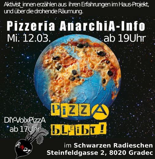 Flyer PizzA Infoveranstaltung 15.3. in Graz