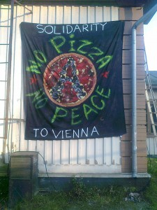 Solidarity banner in Tampere, Finland